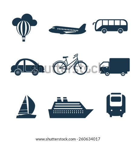 set of black transport icons - stock vector