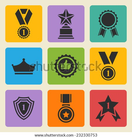 Set of  black vector award success and victory icons with trophies,stars,cups,ribbons,rosettes,medals,medallions, crown,shield, star,podium on a color square - stock vector