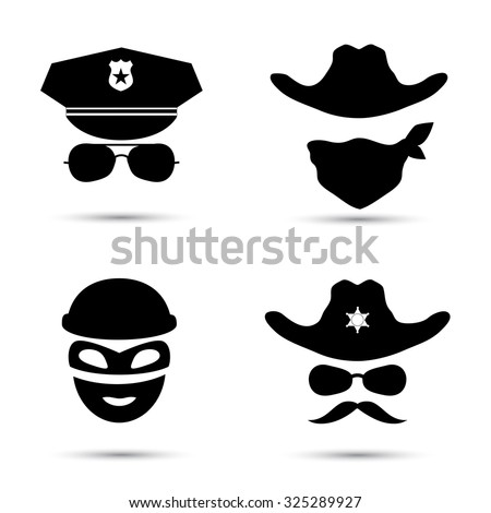 Set of black vector icons isolated on white. Policeman icon.  Theif icon. Sheriff icon. Cowboy icon - stock vector