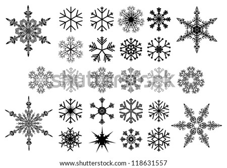Set of black vector snowflakes on white - stock vector