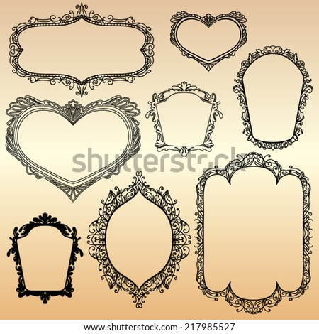 set of black vintage frames, random shape - stock vector
