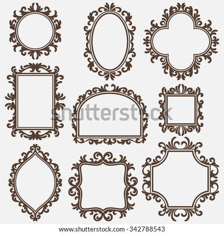 set of black vintage frames, various shapes - stock vector