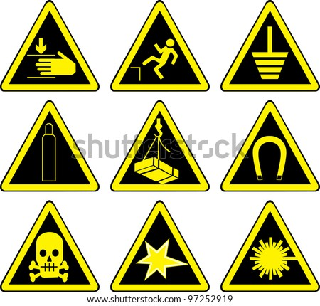 Set of black warning signs - stock vector