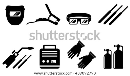 set of black welding equipment isolated icons - stock vector