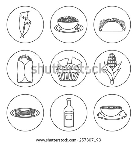 Set of black-white icons with mexican food for your design - stock vector