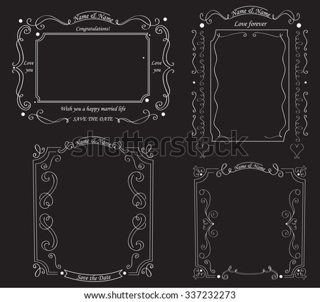 Set of blackboard with vintage ornament. The background for the wedding photo shoot. Vector illustration  - stock vector