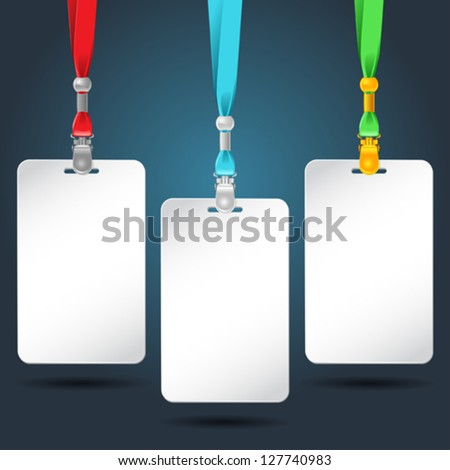 Set of blank badges with color neckbands. - stock vector