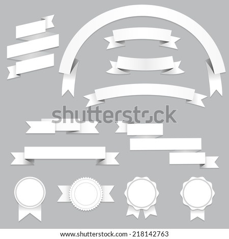 Set of blank banners and ribbons with shadows, isolated on gray background. Vector illustration for your design.  - stock vector