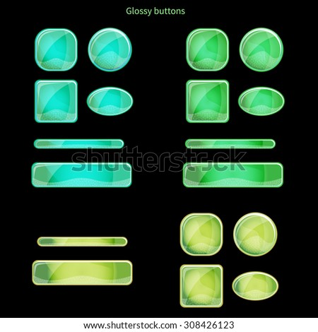 Set of blank blue glossy buttons for website, app or game. Vector eps10 design elements. Square and round forms. - stock vector