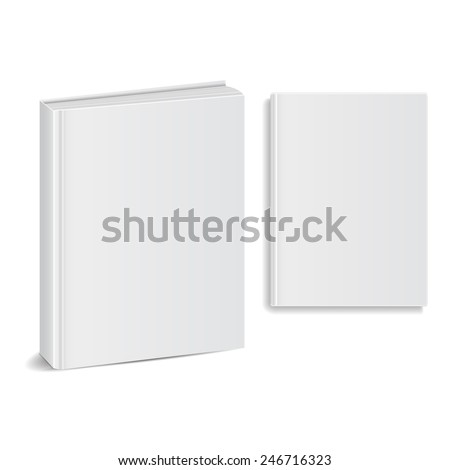 Set of blank books front view cover white. vector illustrations - stock vector