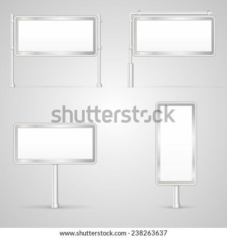 Set of blank City Light vector illustrations. Blank white with gray frame city light mock-up vector collection. Isolated illustrations on white background. - stock vector