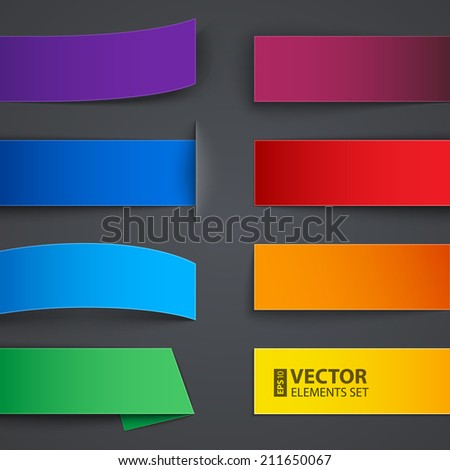 Set of blank colorful paper banners with shadows on gray background. RGB EPS 10 vector illustration - stock vector