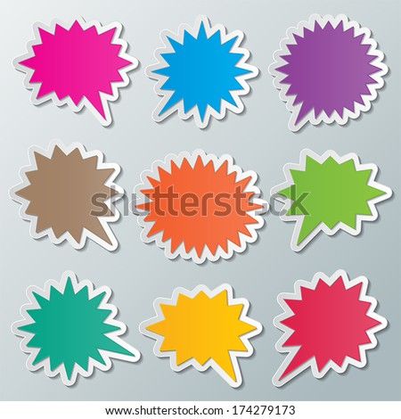 set of blank colorful paper starburst speech bubbles. vector. - stock vector