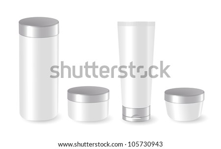 Set of blank cosmetic containers - stock vector