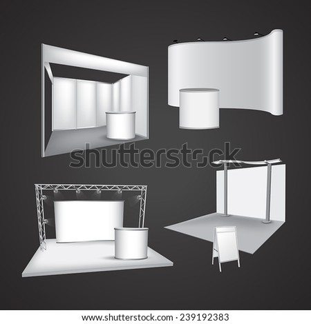 Set of blank exhibition display vector - stock vector