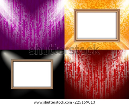 Set of Blank frame on a color wall lighting, abstract colored background with spotlights. Vector illustration - stock vector