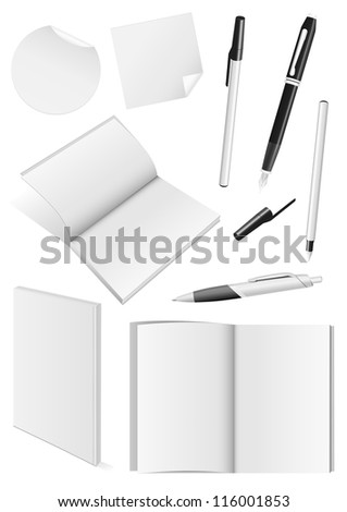 Set of blank mock-ups of pens and a books. - stock vector