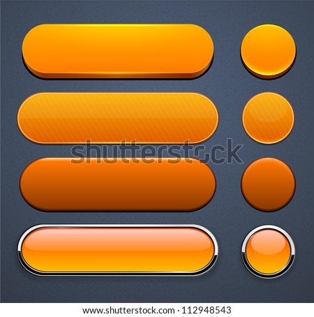Set of blank orange buttons for website or app. Vector eps10. - stock vector