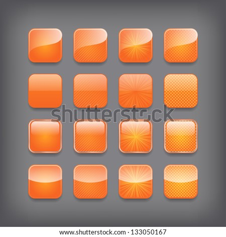 Set of blank orange buttons for you design or app. - stock vector