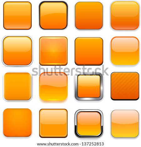Set of blank orange square buttons for website or app. Vector eps10. - stock vector