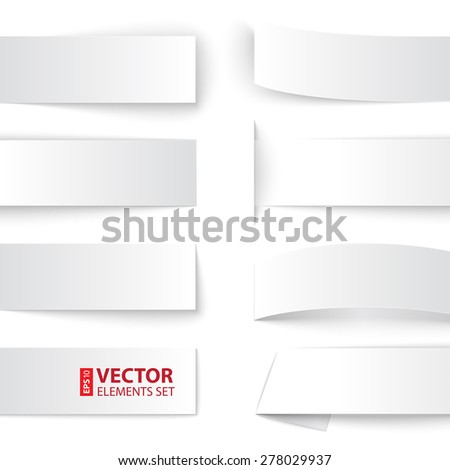 Set of blank paper banners with realistic shadows on white background. RGB EPS 10 vector illustration - stock vector