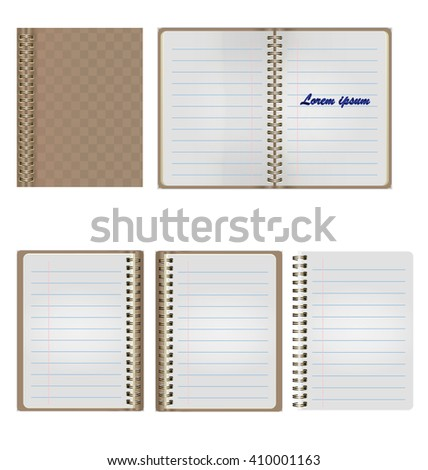 Set of Blank Realistic Spiral Notepad Notebook Isolated On White Background - stock vector
