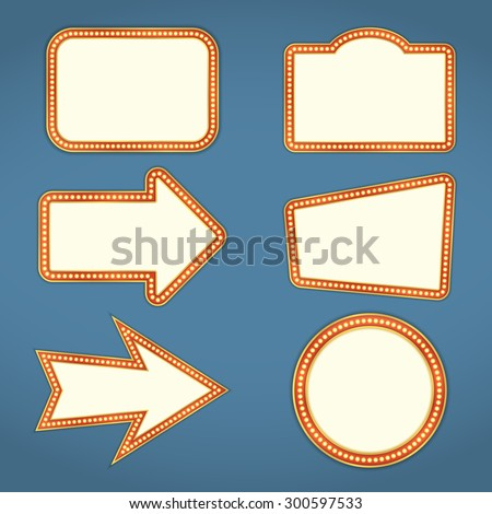 Set of blank retro banners and arrows with lights, vector eps10 illustration - stock vector