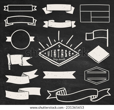 Set of blank retro vintage badges, borders, frames and labels on chalk board background. eps10 - stock vector