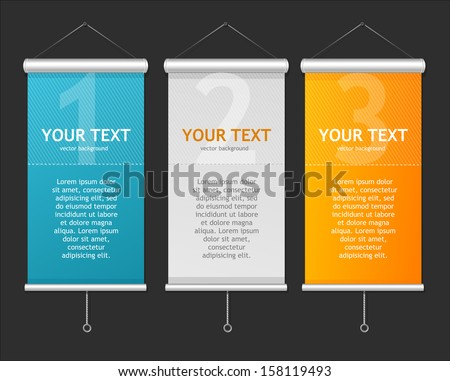 Set of Blank roll up posters. 1,2,3 concept - stock vector