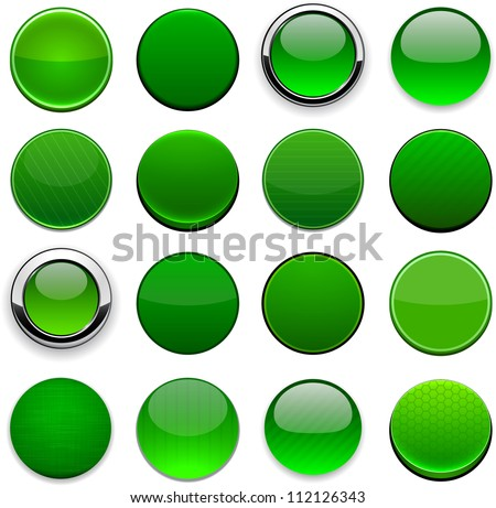 Set of blank round green buttons for website or app. Vector eps10. - stock vector