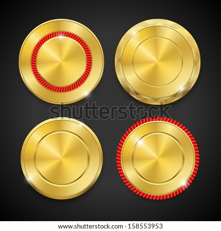 Set of blank round polished gold metal badges on black background. Vector illustration. - stock vector