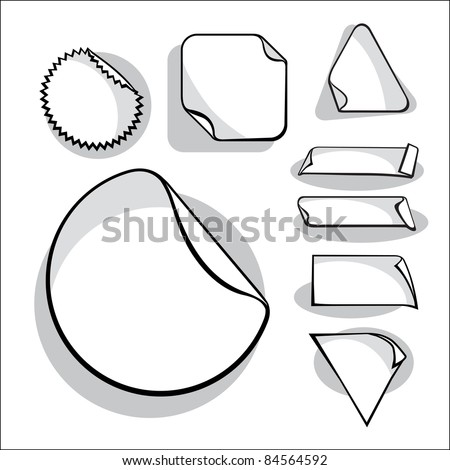 Set Of Blank Stickers. (in the gallery also available XXL jpeg image made from this vector) - stock vector