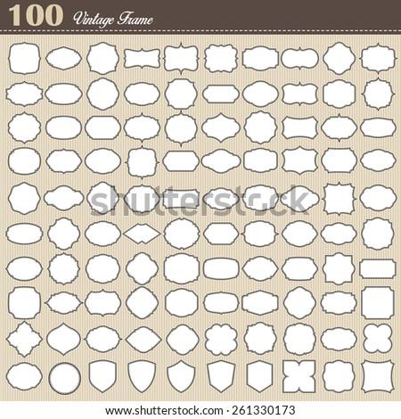 Set of 100 blank vintage frame on white background . Illustration eps10 - stock vector