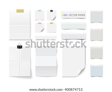 Set of blank white paper sheets and cards isolated on white background. Realistic vector paper and note paper pieces. Paper collection. Branding paper template, mockup. Paper, sticky paper, fold paper - stock vector