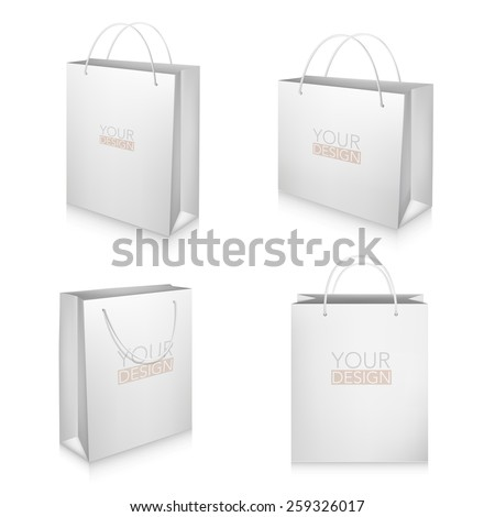 Set of blank white shopping bags isolated on white background - stock vector