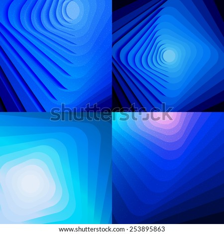 Set of blue abstract shiny backgrounds. Vector geometric banners with lines. - stock vector