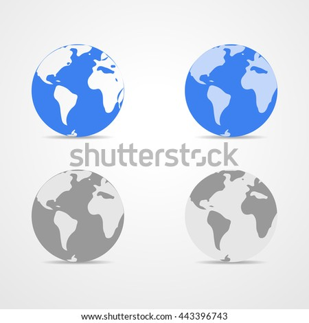 Set of blue and monochrome Earth globes isolated on white background. Light - blue simple scheme of the globe. Collection of icons Earth Globe - vector illustration. Illustration of earth design. - stock vector