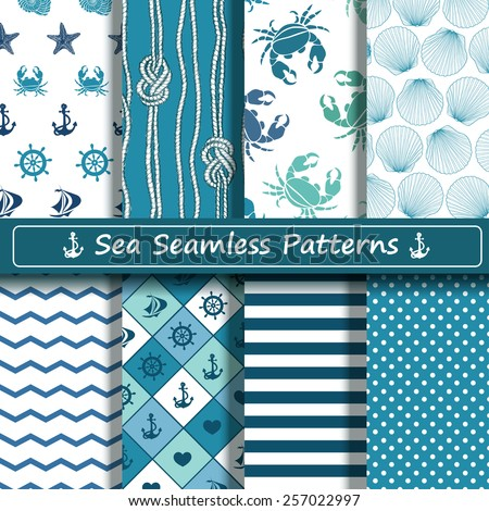 Set of blue and white sea seamless patterns. Scrapbook design elements. All patterns are included in swatch menu. - stock vector
