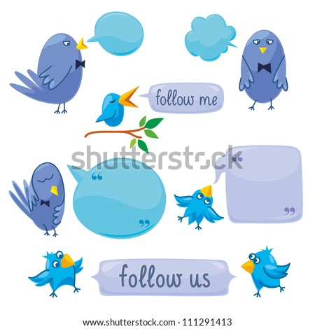 Set Of Blue Birds With Blobs - stock vector
