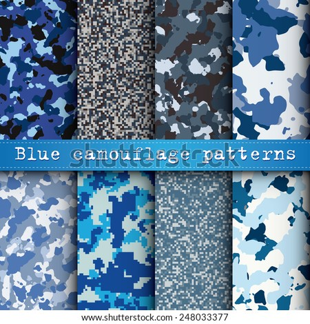 Set of 8 blue camouflage patterns vector - stock vector