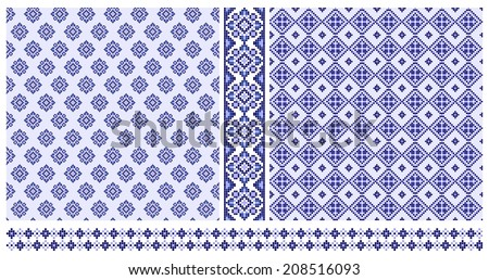 Set of blue ethnic cross stitched seamless patterns and borders - stock vector