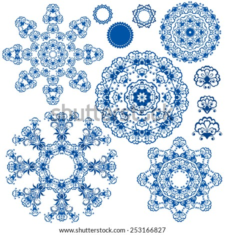 Set of  blue floral circle patterns. Background in the style of Chinese painting on porcelain. Ornamental design elements.  - stock vector