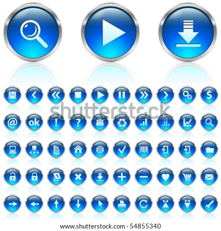 Set of blue glossy icons on white background - stock vector