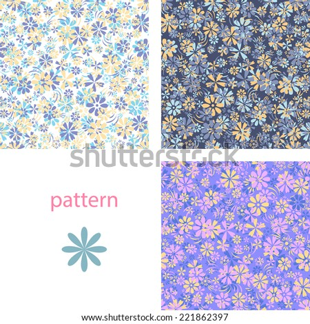 Set of blue motley  backgrounds with a pattern of a variety small flowers for spring or summer design - stock vector