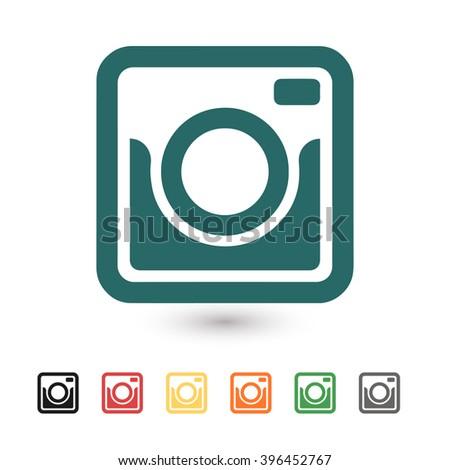 Set of: blue Photo camera vector icon, black Photo camera icon, red Photo camera icon, yellow Photo camera icon, orange Photo camera icon, green Photo camera icon, gray Photo camera icon - stock vector