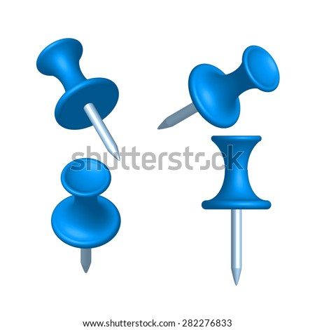 Set of blue pin different view, thumbtack, vector, illustration. - stock vector