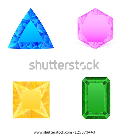 set of blue pink yellow green jewels - stock vector