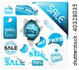 Set of blue sale tickets, labels, stamps, stickers, corners, tags - stock vector