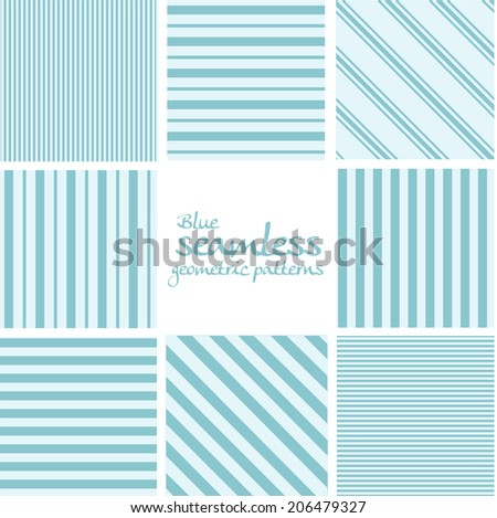 Set of blue seamless geometric striped patterns - stock vector