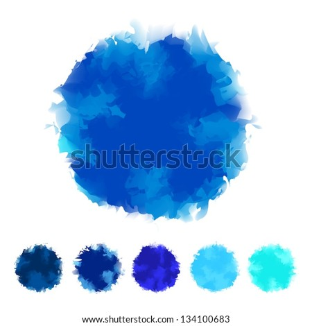Set of blue tone water color round shape design for brush, textbox, design element, VECTOR EPS10 - stock vector